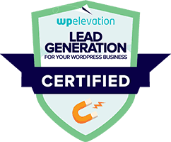 WP Elevation Certified Lead Generation Consultant Certificate for Arrested Graphics and Web Solutions