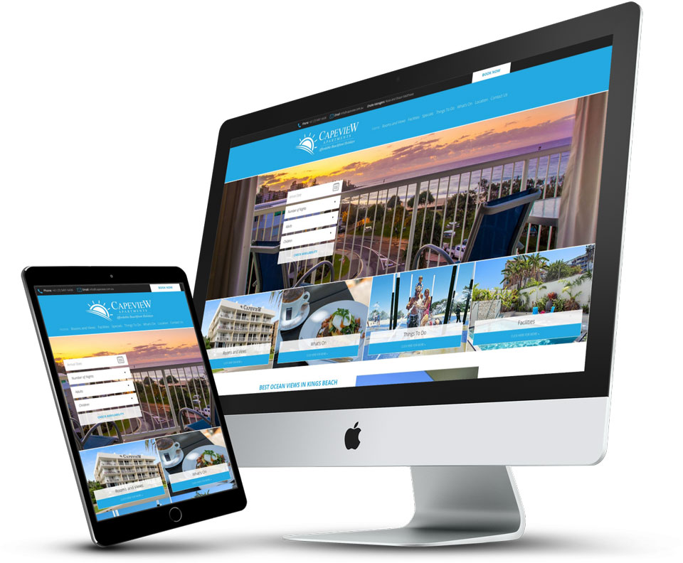 Capeview Apartments website powered by Arrested Graphics and Web Solutions